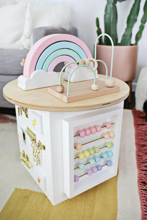 Toddler Activity Center Diy - A Beautiful Mess Educational Baby Toys, Diy Bebe, Wooden Baby Toys, Activity Centers, Baby Activity Table, Baby Sensory, Baby Play, Baby Girl Toys, Baby Kind