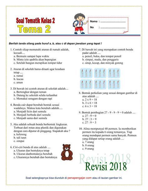 Soal Tema 2 Kelas 2 Semester 1 Kurikulum 2013 Revisi 2018 Kurikulum Matematika Kelas 5 Belajar