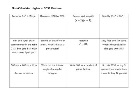 Gcse Non Calculator Revision Mats Higher And Foundation By Mrsmorgan1 Teaching Resources Gcse Revision Expand Simplify Teaching Resources