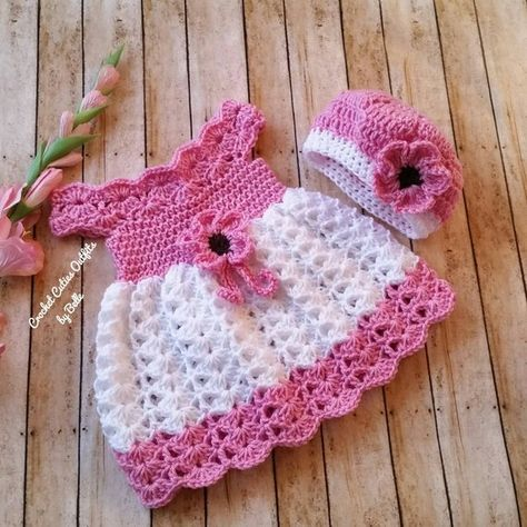 Crochet Baby Dress and Hat, Infant Baby Dress, Handmade Baby Girl Dress, Baby Girl Gift, Baby Shower Gift, Infant Dress, Coming Home Dress. You will receive a baby dress and a hat.  This set has been made with soft and thin yarn for your baby to be comfortable on spring or fall.  Measurements:
