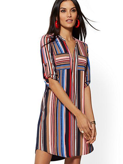 fd90d31726 Multicolor Stripe Zip-Front Shirtdress in 2019 | KN - Fashions ...