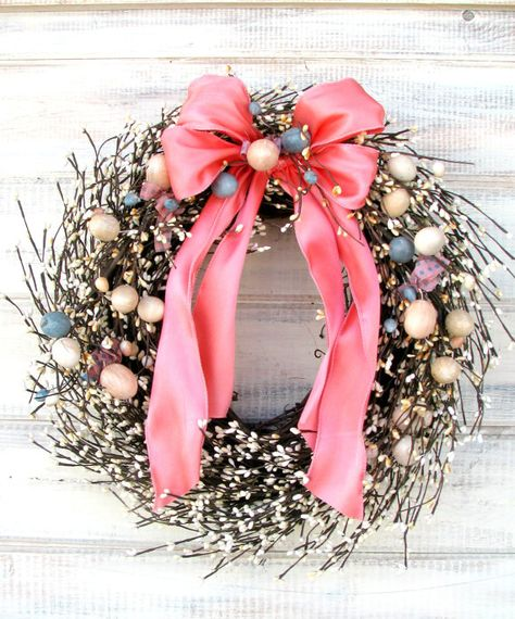 <3 RUSTIC EASTER EGG WreathReady to ShipSpring by WildRidgeDesign, $69.00