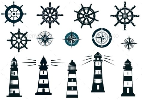 Set of marine or nautical themed icons in black and white with lighthouses, compasses and vintage ships wheels  FLAT    SPORTS  M