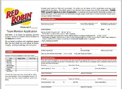 Red Robin Printable Application Jobs And Careers Pinterest - printable employment application