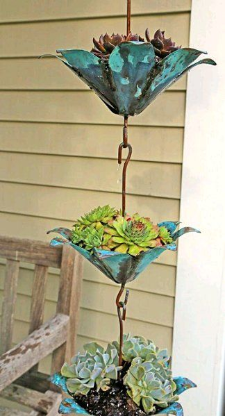 Plant a Rain Chain with succulents! crafts Plant a rain chain with succulents!