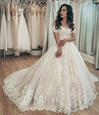 Off Shoulder Wedding Dresses Princess Ball Bridal Gowns Lace Applique Train 2022 Ebay In 2020 Off Shoulder Wedding Dress Sweetheart Wedding Dress Princess Wedding Dresses