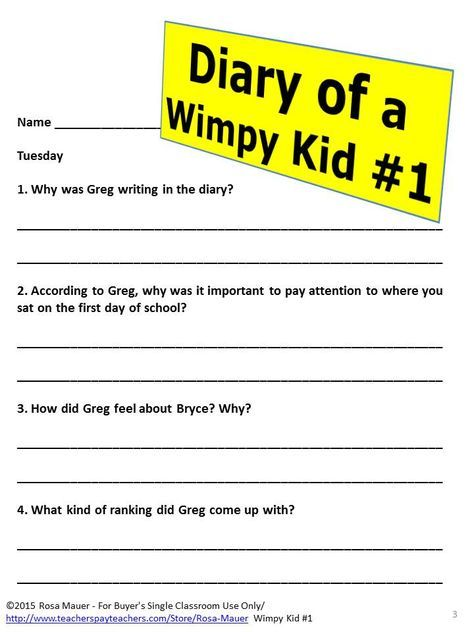 Diary Of A Wimpy Kid Novel Study Book Reading Comprehension Questions Reading Comprehension Questions Wimpy Kid Wimpy Kid Books