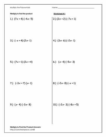 Multiply Polynomials Worksheet 1 In 2020 Algebra 1 Polynomials Algebra