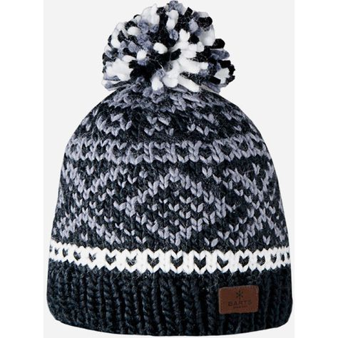 df71fb9d788c15 Barts Log Cabin Fair Isle Beanie Hat - Black ($21) ❤ liked on Polyvore  featuring accessories, hats, beanie, black, black oversized beanie, beanie  hats, ...