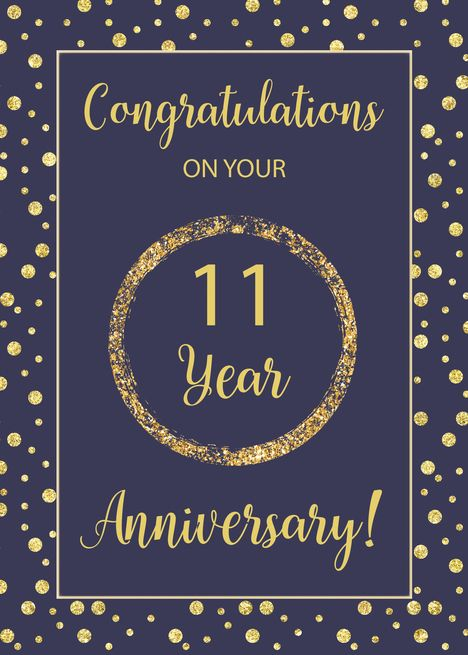 Eleven Years Business Anniversary Navy And Gold Look Dots Card Ad Sponsored Business Employee Anniversary Cards Work Anniversary Cards Work Anniversary