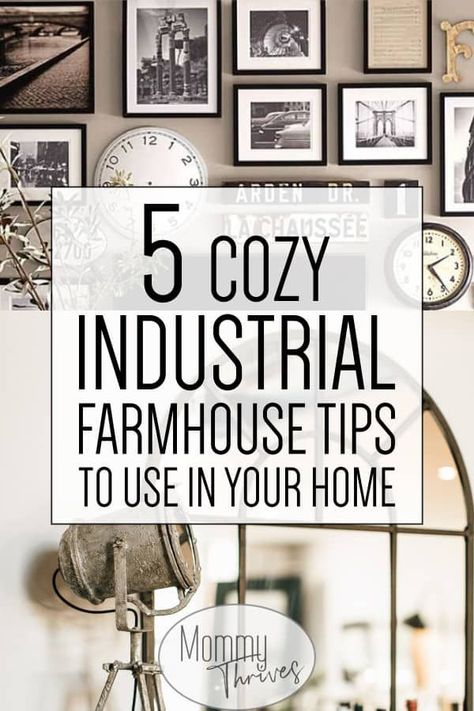 Industrial Decor with a Farmhouse Style Twist - How To Pull Off Industrial Decor In Home - 5 Cozy Industrial Farmhouse Tips To Use In Your Home #industrialdecor #industrial #farmhouse #industrialfarmhouse #decor #homedecor ...t window into your soul and show off your rustic or industrial home with style. Have fun decorating your home with your newfound knowledge. We...s vertical sides for simple assembly and easy mounting.It offers sharp lines and attractive corners and edges that improve its be