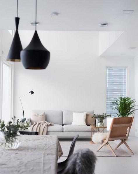 salon sejour blanc canape gris chaise bois cuir suspension ...