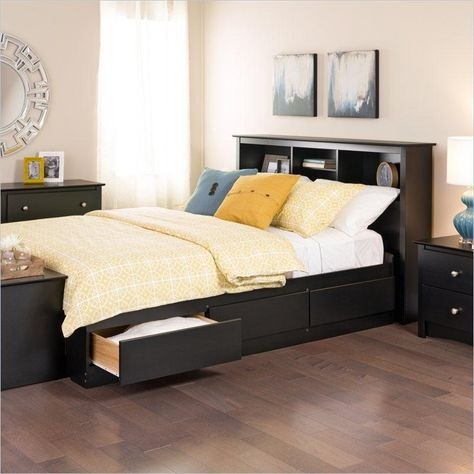 Twin Xl Platform Bed With Bookcase Headboard 3 Storage Drawers In