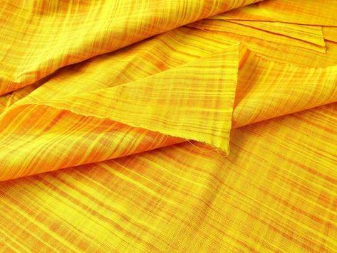 Yellow slub cotton fabric handwoven fabric mustard solid | Etsy