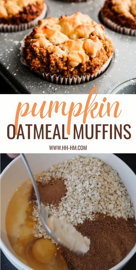 Healthy flourless oatmeal pumpkin muffins with cream cheese! Super easy pumpkin recipe for fall that is good and nourishing enough to be a healthy breakfast idea.