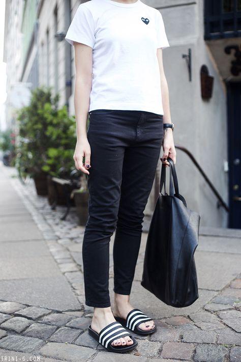separation shoes 73bfa 353c4 Trini   Isabel Marant Etoile jeans - Comme des Garçons PLAY tshirt - Adidas  Adilette slides - Céline cabas bag