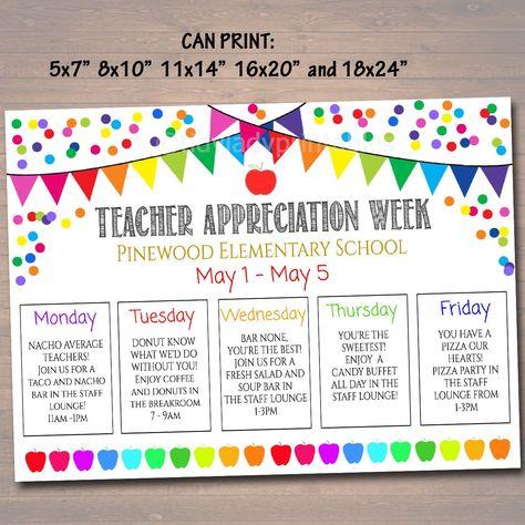 Teacher Appreciation Week Itinerary Poster,  File, Appreciation Week Schedule Events,  Fundraiser Printables