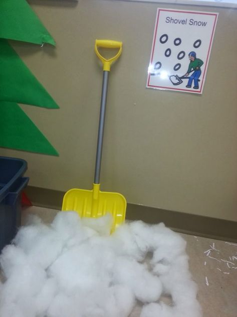 STA Classroom: Winter Wonderland-winter themed dramatic play for older students. Practice snow shoveling and wrapping presents.