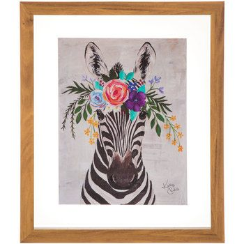 Zebra With Flowers Framed Wood Wall Decor Wood Wall Decor Wood Wall Wood Frame