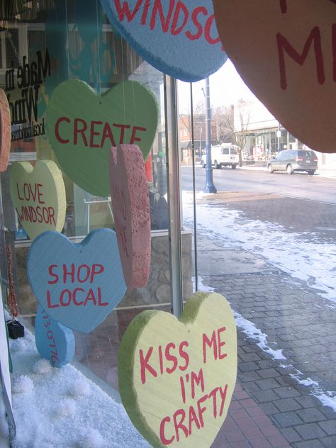 Looking for some inspiration for the Valentine window displays at work! – Valentine's Day Store Front Windows, Retail Windows, Quotes Valentines Day, Funny Valentine, Store Window Displays, Display Windows, Candy Store Display, Retail Displays, Bakery Window Display