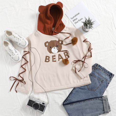 Letter  Bear Graphic Lace Up Contrast Hoodie