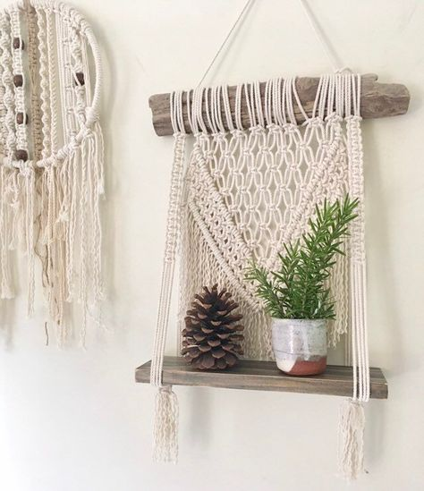 Excited to share the latest addition to my #etsy shop: Macrame Hanging Shelf//Boho//Eclectic//Modern Macrame//Hanging Vase//Plant Hanger//Handmade