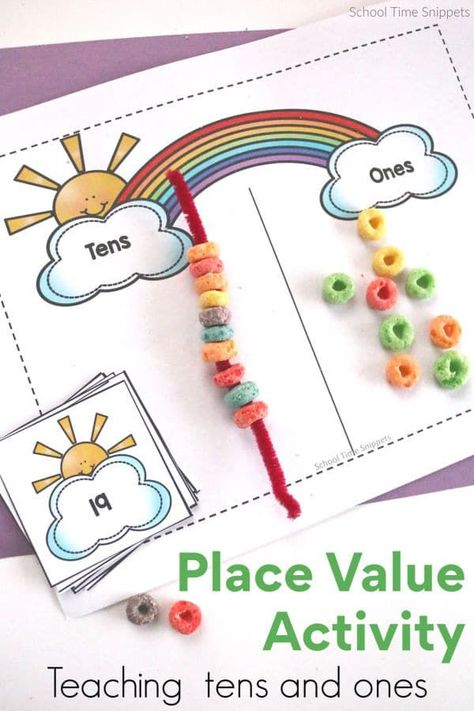 Teaching place value of tens and ones will be a hit with this colorful (and tasty) rainbow maths activity! value, Rainbow Maths Place Value Activity Place Value Games, Place Value Activities, First Grade Activities, 1st Grade Math, Teaching Activities, Kindergarten Math, Teaching Math, Third Grade, Maths Resources