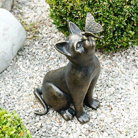 Stein Skulptur Figuren Katze Design Skulpturen Figur Statuen Garten Dekoration