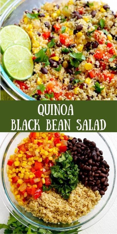Quinoa black bean salad with cilantro and lime is a delicious and easy lunch or dinner to make ahead and eat all week. #quinoa #quinoasalad #quinoablackbeansalad #vegan