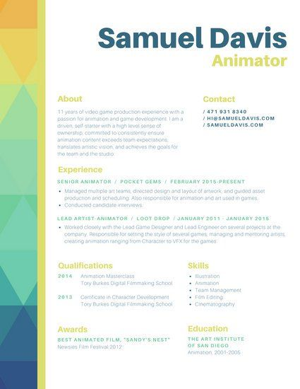 Orange Green Blue Animator Colorful Geometric Border Resume