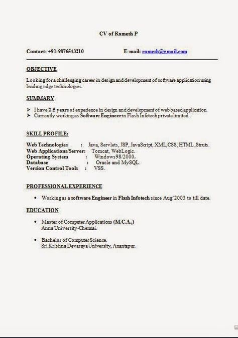 machote de curriculum vitae Sample Template Example ofExcellent CV - resume format for mca