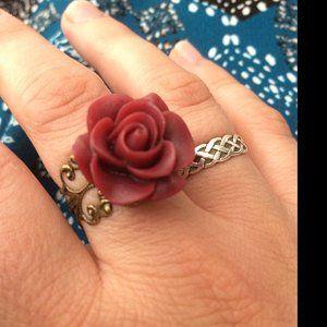 Maroon Rose Ring Dark Red Flower Ring Gold Ring Silver Etsy Flower Earrings Rose Ring French Hook Earrings