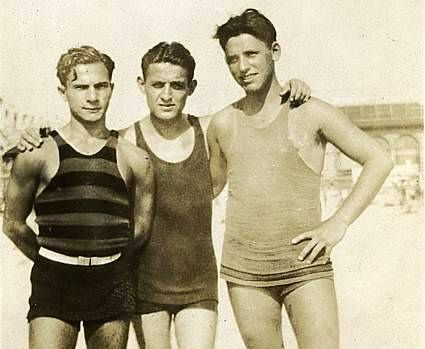 41175ea8155 1930s Three Men On Beach TankTop Swimsuits Swim Trunks Shirtless | Vintage  swim wear - Pre-spandex. When it really meant something to complain that
