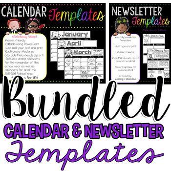 Calendar \ Newsletter Template Bundle {Brights Kidlettes Edition} - powerpoint calendar template