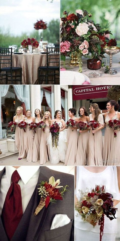 Winter Wedding Color Schemes To Excite You Gray Wedding Colors, Winter Wedding Colors, Burgundy And Grey Wedding, Red Winter Weddings, Colors For Weddings, Unique Weddings, Wedding Colora, Winter Wedding Ideas, December Wedding Colors