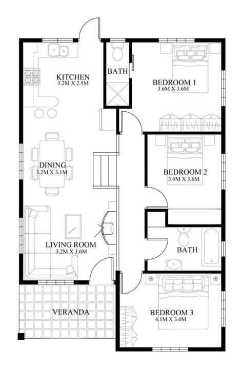 Single Story Pinoy House Plan Floor Area 90 Square Meters Small House Design Plans Modern House Floor Plans Small House Layout