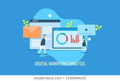 Simple Illustration Of Digital Marketing Analysis Internet