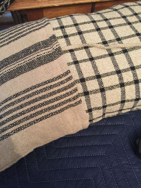 Grain Sack And Paupers Pillow From Family Heirloom Weavers Pillows Come With A Grain Sack Covering Both In Blac Family Heirloom Coverlets Heirlooms