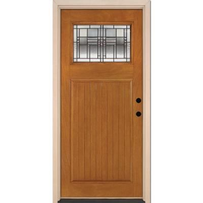 Feather River Doors 37 5 In X 81 625 In Monroe Patina Craftsman 1 4 Lite Stained Honey Mahogany Lh Inswing Fiberglass Prehung Front Door N53d90 Honey Mahogany Fiberglass Door Front Door