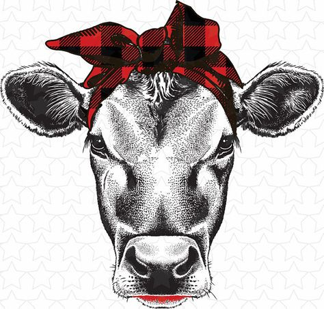 Buffalo plaid cow, scarf cow, sublimation transfers, cow transfers