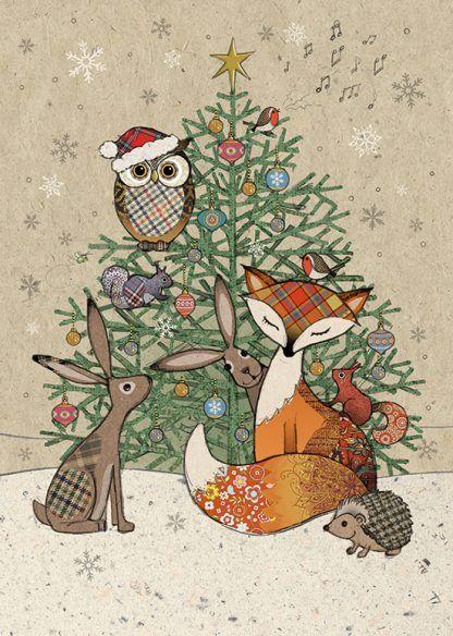 Bug Art Christmas Card Mice Stockings Greetings Card FREE UK POSTAGE
