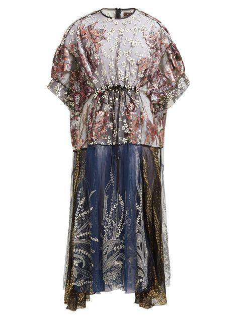 Aradela velvet fil-coupé embroidered dress | Biyan | MATCHESFASHION.COM