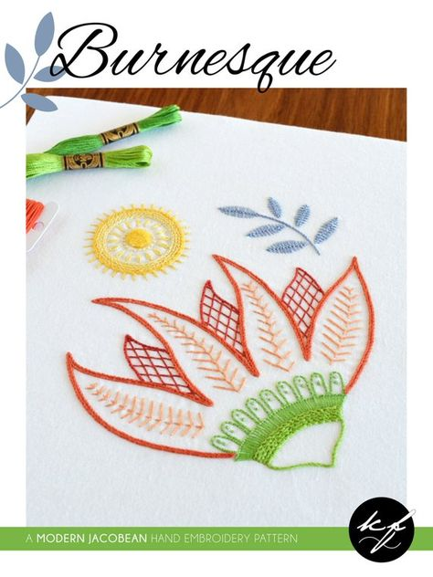 Burnesque hand embroidery pattern, a modern crewel embroidery pattern PDF