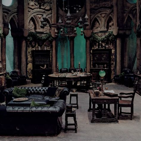 Listen online to the sound mix called: Slytherin Common Room.---> this page is amazing. the slytherin common room is the coolest. i just can't take the sounds of the other houses Gothic Interior, Gothic Home Decor, Interior Design, Interior Office, Interior Modern, Interior Ideas, Slytherin Aesthetic, Harry Potter Aesthetic, Gothic Aesthetic