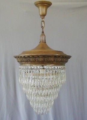 Antique French Empire 1910 1920s Crystal Wedding Cake Chandelier Brass Victorian Antique Brass Chandelier Antique Chandelier Sconce Light Fixtures
