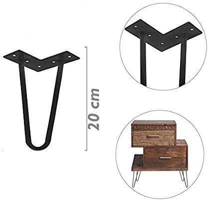 PrimeMatik Pies para Mesa y Mueble Patas en Acero 2 Varillas 20 cm Cobre 4-Pack