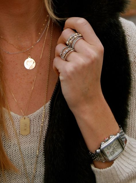 gold, black, dainty jewels