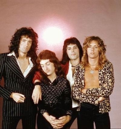 British rock band Queen: Roger Taylor, Brian May, John Deacon and Freddie Mercury.