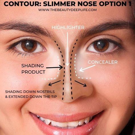Face Contouring Makeup, Nose Makeup, Skin Makeup, Face Makeup Tips, Makeup Things, Contouring And Highlighting, Makeup Tips To Look Younger, Makeup Tips For Older Women, Model Makeup Tutorial