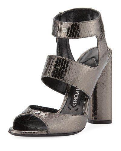 TOM FORD Rivet Snakeskin 105mm Sandal, Gray | Tom ford shoes